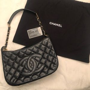 Authentic Chanel Quilted Caviar Shoulder Bag